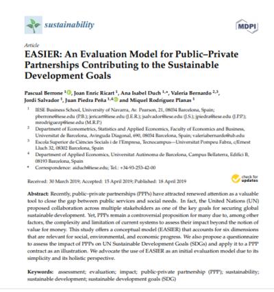EASIER: модель оценки государственно-частного партнерства с точки зрения соответствия целям устойчивого развития.