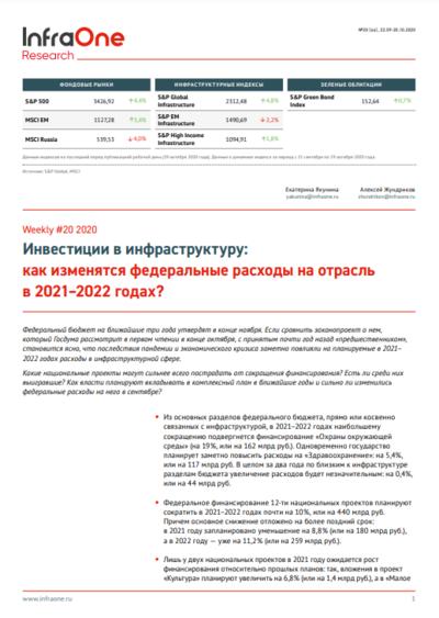 Инвестиции в инфраструктуру: как изменятся федеральные расходы на отрасль в 2021–2022 годах?