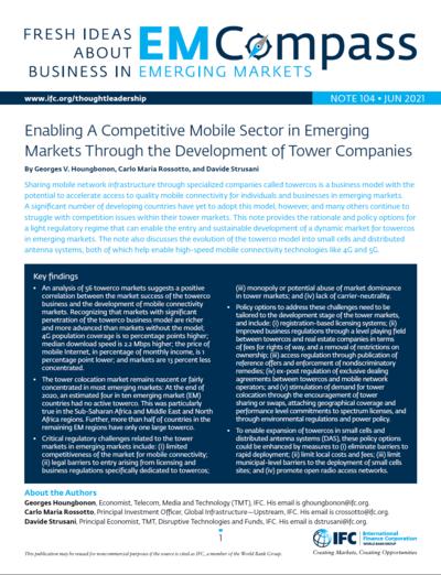 Создание конкурентоспособного мобильного сектора на развивающихся рынках